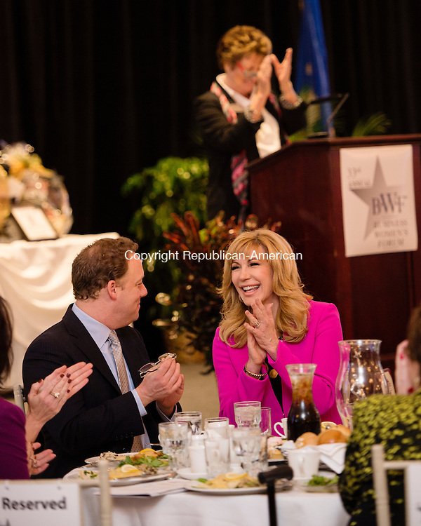 WATERBURY, CT - 23 October 2015-102315EC01-- Leeza Gibbons, an anchor on Entertainment Tonight, before she is introduced as the keynote speaker to the 2015 Business Women's Forum at the Aqua Turf Friday. Erin Covey Republican-American.