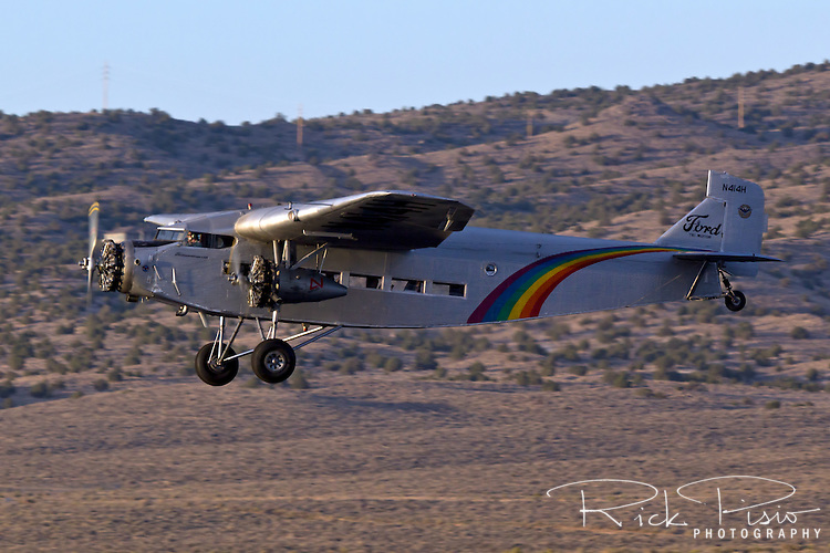 Ford Trimotor ready in flight. N414H was used for 65 years as a sightseeing aircraft flying over the Grand Canyon.
