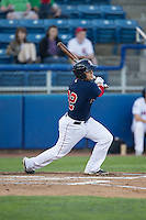 Jake Romanski (22) of the Salem Red Sox follows through on his swing against the Winston-Salem Dash at LewisGale Field at Salem Memorial Ballpark on May 13, 2015 in Salem, Virginia.  The Red Sox defeated the Dash 8-2.  (Brian Westerholt/Four Seam Images)