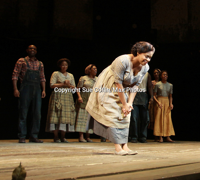 The cast at the curtain call of The Gershwins' Porgy and Bess on Opening Night - January 12, 1212 at the Richard Rogers Theatre, New York City, New York.  (Photo by Sue Coflin/Max Photos)
