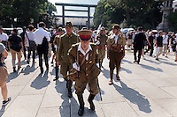The 70th anniversary of the end of the Pacific war is celebrated at the controversial Yasukuni Shrine in Kudanshita, Tokyo, Japan Saturday August 15th 2015