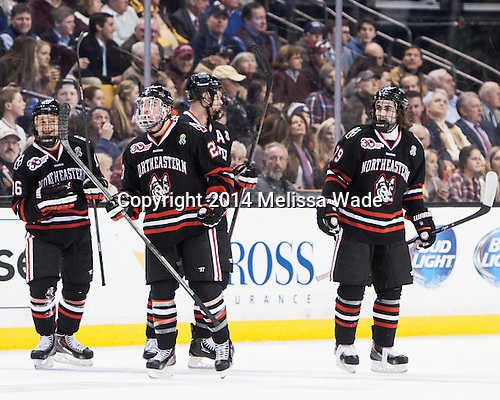 Ryan Belonger (NU - 16), Colton Saucerman (NU - 23), Cody Ferriero (NU - 79) - The Boston College Eagles defeated the Northeastern University Huskies 4-1 (EN) on Monday, February 10, 2014, in the 2014 Beanpot Championship game at TD Garden in Boston, Massachusetts.