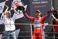 Ducati's Team rider Italian Andrea Dovizioso, winner the Moto GP Grand Prix at the Mugello race track on June 4, 2017 and Claudio Dominicali celebrates on the podium. <br /> MotoGP Italy Grand Prix 2017 at Autodromo del Mugello, Florence, Italy on 4th June 2017. <br /> Photo by Danilo D'Auria.<br /> <br /> Danilo D'Auria/UK Sports Pics Ltd/Alterphotos /NortePhoto.com