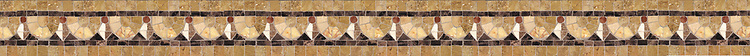 "3"" Egg & Dart border, a hand-cut stone mosaic, shown in polished Giallo Reale, Rosa Verona, Crema Valencia, Botticino, Renaissance Bronze, Emperador Dark, and Travertine Noce."