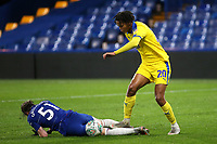 Toby Sibbick of AFC Wimbledon appears to stand on the back of the legs of Chelsea's Conor Gallagher during Chelsea Under-21 vs AFC Wimbledon, Checkatrade Trophy Football at Stamford Bridge on 4th December 2018
