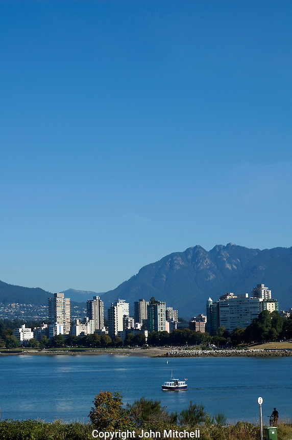 Englidh Bay, West End high rises and North Shore mountains from Vanier Park, Vancouver, BC, Canada