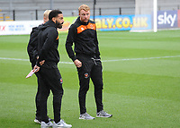 Blackpool's Liam Feeney, Mark Cullen (obscured) and Chris Taylor inspect their surroundings<br /> <br /> Photographer Kevin Barnes/CameraSport<br /> <br /> Emirates FA Cup First Round - Exeter City v Blackpool - Saturday 10th November 2018 - St James Park - Exeter<br />  <br /> World Copyright © 2018 CameraSport. All rights reserved. 43 Linden Ave. Countesthorpe. Leicester. England. LE8 5PG - Tel: +44 (0) 116 277 4147 - admin@camerasport.com - www.camerasport.com