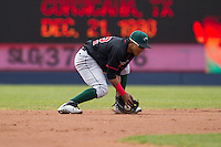 Great Lakes Loons second baseman Jesmuel Valentin #22 fields a ground ball during a game against the Quad Cities River Bandits at Modern Woodmen Park on April 29, 2013 in Davenport, Iowa. (Brace Hemmelgarn/Four Seam Images)
