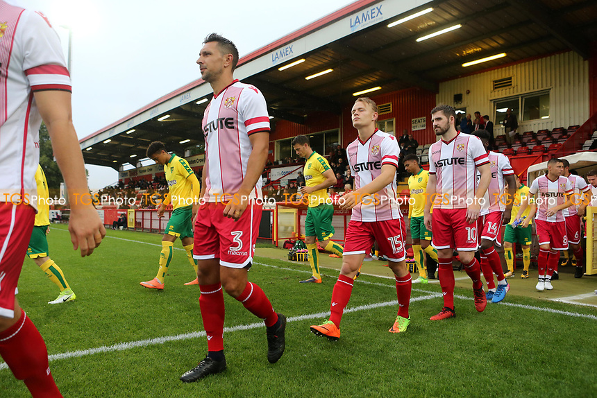 Recent Stevenage signing, Joe Martin, walks onto the pitch pre-match during Stevenage vs Norwich City, Friendly Match Football at the Lamex Stadium on 11th July 2017