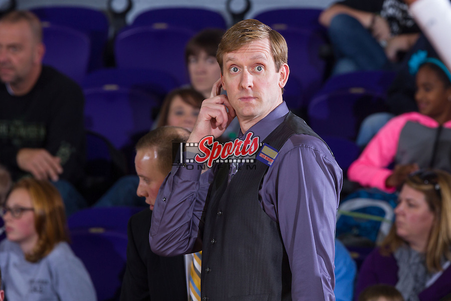 High Point Panthers head coach Scott Cherry looks perplexed at an officials call during second half action against the Wofford Terriers at Millis Athletic Center on November 24, 2013 in High Point, North Carolina.  The Panthers defeated the Terriers 66-56.   (Brian Westerholt/Sports On Film)