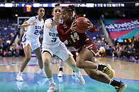 GREENSBORO, NC - MARCH 06: Marnelle Garraud #14 of Boston College drives past Miela Goodchild #3 of Duke University during a game between Boston College and Duke at Greensboro Coliseum on March 06, 2020 in Greensboro, North Carolina.