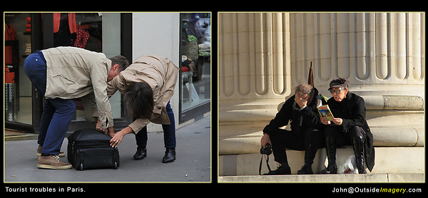France, Paris. Tourist Troubles. <br /> Try to tell a story. Here, tourists struggle on the streets of Paris, France. Better them than me