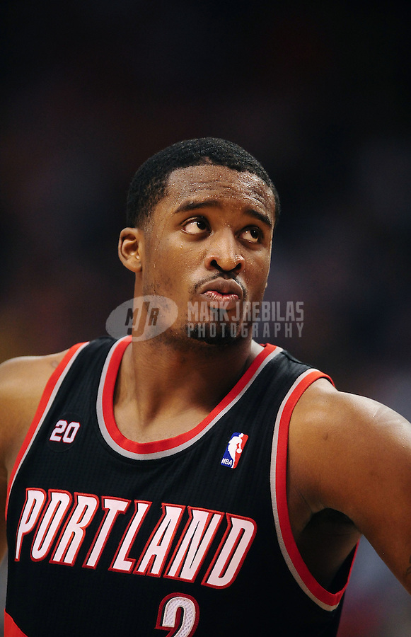 Jan. 14, 2011; Phoenix, AZ, USA; Portland Trailblazers guard (2) Wesley Matthews against the Phoenix Suns at the US Airways Center. The Suns defeated the Trailblazers 115-111. Mandatory Credit: Mark J. Rebilas-