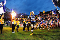 Dave Attwood and the rest of the Bath Rugby team run out onto the field. Aviva Premiership match, between Bath Rugby and Saracens on April 1, 2016 at the Recreation Ground in Bath, England. Photo by: Patrick Khachfe / Onside Images