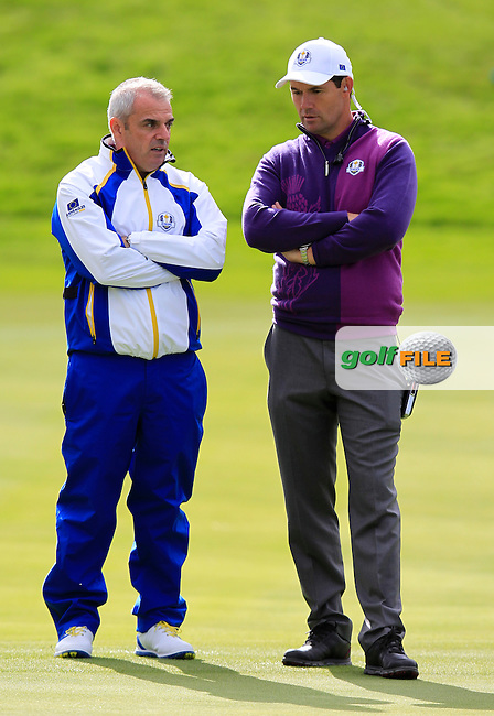 Captain Paul McGinley and Vice Captain Padraig Harrington (EUR) during Practice on Wednesday at the 40th Ryder Cup, The Gleneagles Hotel, Perthshire from 26th to 28th September 2014<br /> Picture Eoin Clarke, www.golffile.ie