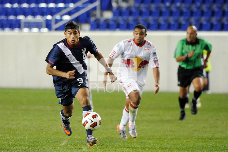 Mario Rodriguez (9) of the USA. The USMNT U-17 defeated New York Red Bulls U-18 4-1 during a friendly at Red Bull Arena in Harrison, NJ, on October 09, 2010.