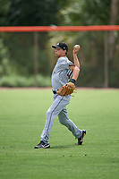 GCL Marlins Davis Bradshaw (27) warms up in the outfield before a game against the GCL Mets on August 3, 2018 at St. Lucie Sports Complex in Port St. Lucie, Florida.  GCL Mets defeated GCL Marlins 3-2.  (Mike Janes/Four Seam Images)