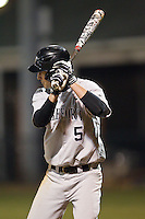 Evan Stephens (5) of the Wake Forest Demon Deacons at bat against the Davidson Wildcats at Wilson Field on March 19, 2014 in Davidson, North Carolina.  The Wildcats defeated the Demon Deacons 7-6.  (Brian Westerholt/Four Seam Images)
