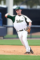 "University of South Florida Sam Mende #8 during a game vs. the Miami Hurricanes in the ""Florida Four"" at George M. Steinbrenner Field in Tampa, Florida;  March 1, 2011.  USF defeated Miami 4-2.  Photo By Mike Janes/Four Seam Images"