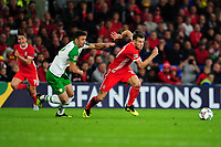 Enda Stevens of Republic of Ireland battles with Gareth Bale of Wales during the UEFA Nations League B match between Wales and Ireland at Cardiff City Stadium in Cardiff, Wales, UK.September 6, 2018