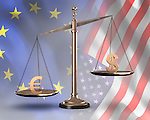 Bronze biased scales with US dollar and Euro symbols Conceptual photo-realistic 3D illustration
