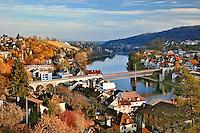 Autumn view of Rhein River from Munot Castle, Schaffhausen, Switzerland