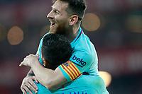 FC Barcelona's Leo Messi (t) and Paulinho celebrate goal during La Liga match. October 28,2017. (ALTERPHOTOS/Acero) /NortePhoto.com