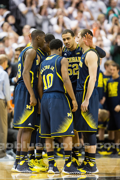 The University of Michigan men's basketball team defeats Michigan State, 80-75, at the Breslin Center in East Lansing, Mich. on January 25, 2014.