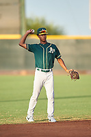AZL Athletics Green shortstop Jalen Greer (4) during an Arizona League game against the AZL Reds on July 21, 2019 at the Cincinnati Reds Spring Training Complex in Goodyear, Arizona. The AZL Reds defeated the AZL Athletics Green 8-6. (Zachary Lucy/Four Seam Images)