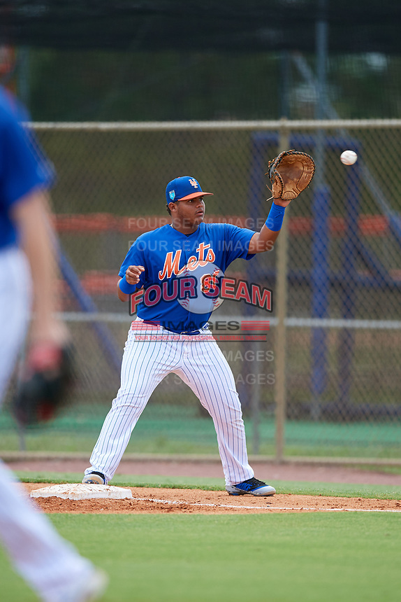 GCL Mets first baseman Wilfred Astudillo (80) waits to receive a throw during a game against the GCL Marlins on August 3, 2018 at St. Lucie Sports Complex in Port St. Lucie, Florida.  GCL Mets defeated GCL Marlins 3-2.  (Mike Janes/Four Seam Images)
