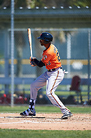 Baltimore Orioles designated hitter Henry Urrutia (23) follows through on a swing during a minor league Spring Training game against the Boston Red Sox on March 16, 2017 at the Buck O'Neil Baseball Complex in Sarasota, Florida.  (Mike Janes/Four Seam Images)