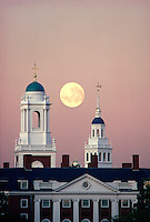 Eliot and Lowell house towers with moon Cambridge MA