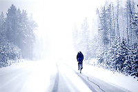 Biking through a snow storm.