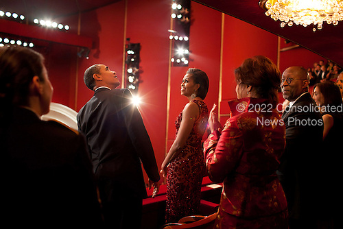 United States President Barack Obama and First Lady Michelle Obama attend the Kennedy Center Honors at the John F. Kennedy Center for the Performing Arts in Washington, D.C., December 5, 2010. .Mandatory Credit: Pete Souza - White House via CNP