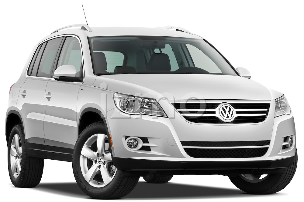 Low aggressive passenger side front three quarter view of 2010 Volkswagen Tiguan Wolfsburg SUV  Stock Photo