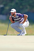 Dustin Johnson (USA) lines up a putt on the second hole during the third round of the 118th U.S. Open Championship at Shinnecock Hills Golf Club in Southampton, NY, USA. 16th June 2018.<br /> Picture: Golffile | Brian Spurlock<br /> <br /> <br /> All photo usage must carry mandatory copyright credit (&copy; Golffile | Brian Spurlock)