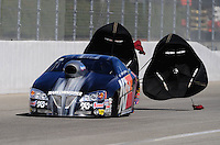 Nov 13, 2010; Pomona, CA, USA; NHRA pro stock driver Warren Johnson during qualifying for the Auto Club Finals at Auto Club Raceway at Pomona. Mandatory Credit: Mark J. Rebilas-