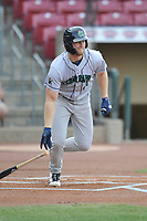 Cedar Rapids Kernels first baseman Gabe Snyder (24) in action against the Quad Cities River Bandits at Veterans Memorial Stadium on April 16, 2019 in Cedar Rapids, Iowa.  The Kernels won 11-2.  (Dennis Hubbard/Four Seam Images)