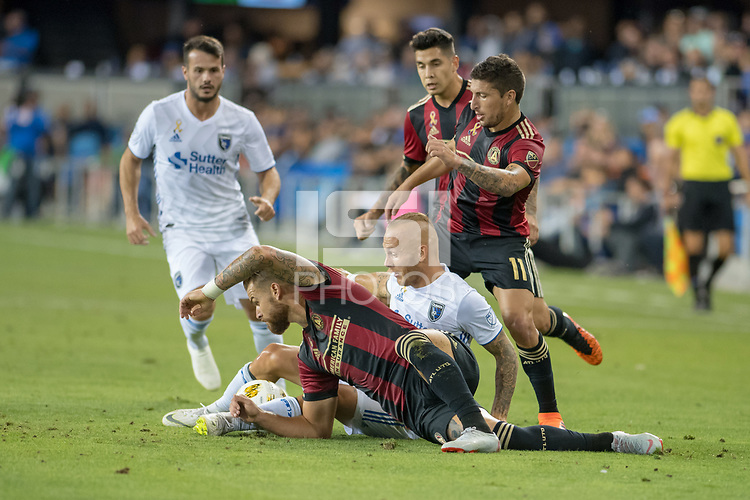 San Jose, CA - Wednesday September 19, 2018: Magnus Eriksson during a Major League Soccer (MLS) match between the San Jose Earthquakes and Atlanta United FC at Avaya Stadium.