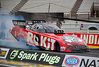 Jul 10, 2020; Clermont, Indiana, USA; NHRA funny car driver Alexis DeJoria during testing for the Lucas Oil Nationals at Lucas Oil Raceway. This will be the first race back for NHRA since the COVID-19 pandemic. Mandatory Credit: Mark J. Rebilas-USA TODAY Sports