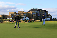 Jon Rahm (ESP) watched on by Rory McIlroy (NIR) on the 17th green during Round 3 of the Alfred Dunhill Links Championship 2019 at St. Andrews Golf CLub, Fife, Scotland. 28/09/2019.<br /> Picture Thos Caffrey / Golffile.ie<br /> <br /> All photo usage must carry mandatory copyright credit (© Golffile | Thos Caffrey)