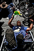 Handicapped people from all over Bolivia marched to the capital city of La Paz to demand a help or subsidy from the State, but they got no more than clashing with police and got back to their homes with empty hands