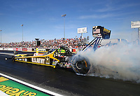 Mar 28, 2014; Las Vegas, NV, USA; NHRA top fuel dragster driver Tony Schumacher during qualifying for the Summitracing.com Nationals at The Strip at Las Vegas Motor Speedway. Mandatory Credit: Mark J. Rebilas-