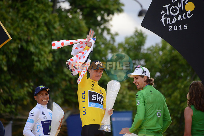 Overall Yellow Jersey winner Christopher Froome (GBR) Team Sky with Green Jersey winner Peter Sagan (SVK) Tinkoff-Saxo and White Jersey winner Nairo Quintana (COL) Movistar on the podium in Paris at the end of Stage 21 of the 2015 Tour de France running 109.5km from Sevres to Paris - Champs Elysees, France. 26th July 2015.<br /> Photo: ASO/X.Bourgois/Newsfile
