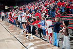 Wisconsin Badgers Alexis Mitchell (10) is introduced during introductions prior to an NCAA volleyball match against the Michigan Wolverines at the Field House on October 30, 2010 in Madison, Wisconsin. Michigan won the match 3-1. (Photo by David Stluka)
