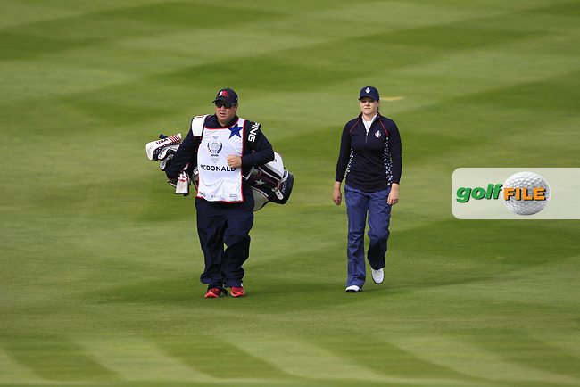 Ally McDonald (USA) on the 1st fairway during Day 3 Singles at the Solheim Cup 2019, Gleneagles Golf CLub, Auchterarder, Perthshire, Scotland. 15/09/2019.<br /> Picture Thos Caffrey / Golffile.ie<br /> <br /> All photo usage must carry mandatory copyright credit (© Golffile | Thos Caffrey)