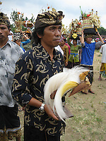 family member of higher cast clan watches preparations for cremation annd holding a bird-sculpture as symbol of liberation of the soul of the passed family member, cremation ceremonies in Tampak Siring, village of horn carving art, central Bali, archipelago Indonesia, August 2009