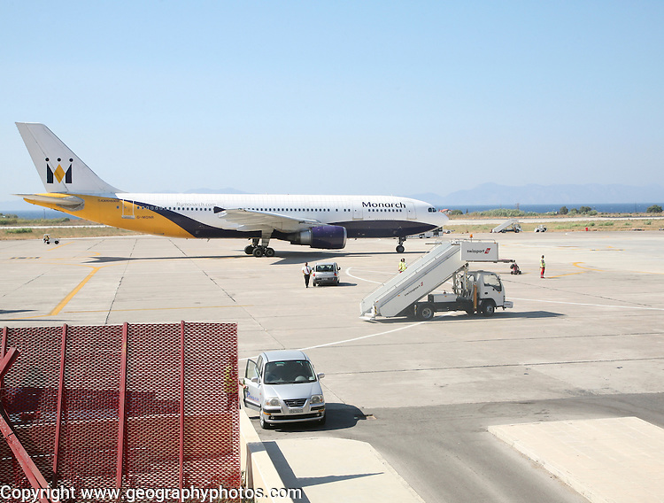 Monarch airlines charter plane at Rhodes airport, Greece