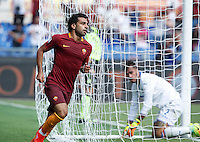 Calcio, Serie A: Roma vs Sampdoria. Roma, stadio Olimpico, 11 settembre 2016.<br /> Roma&rsquo;s Mohamed Salah celebrates after scoring during the Italian Serie A football match between Roma and Sampdoria at Rome's Olympic stadium, 11 September 2016. Roma won 3-2.<br /> UPDATE IMAGES PRESS/Isabella Bonotto