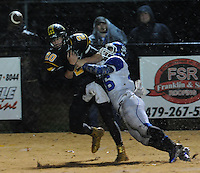 NWA Democrat-Gazette/ANDY SHUPE<br /> Blake Faulk (20) of Prairie Grove is unable to make a reception as he is hit by Trace Beard of Star City Friday, Nov. 27, 2015, during the first half of play at Tiger Stadium in Prairie Grove. Visit nwadg.com/photos to see more photographs from the game.